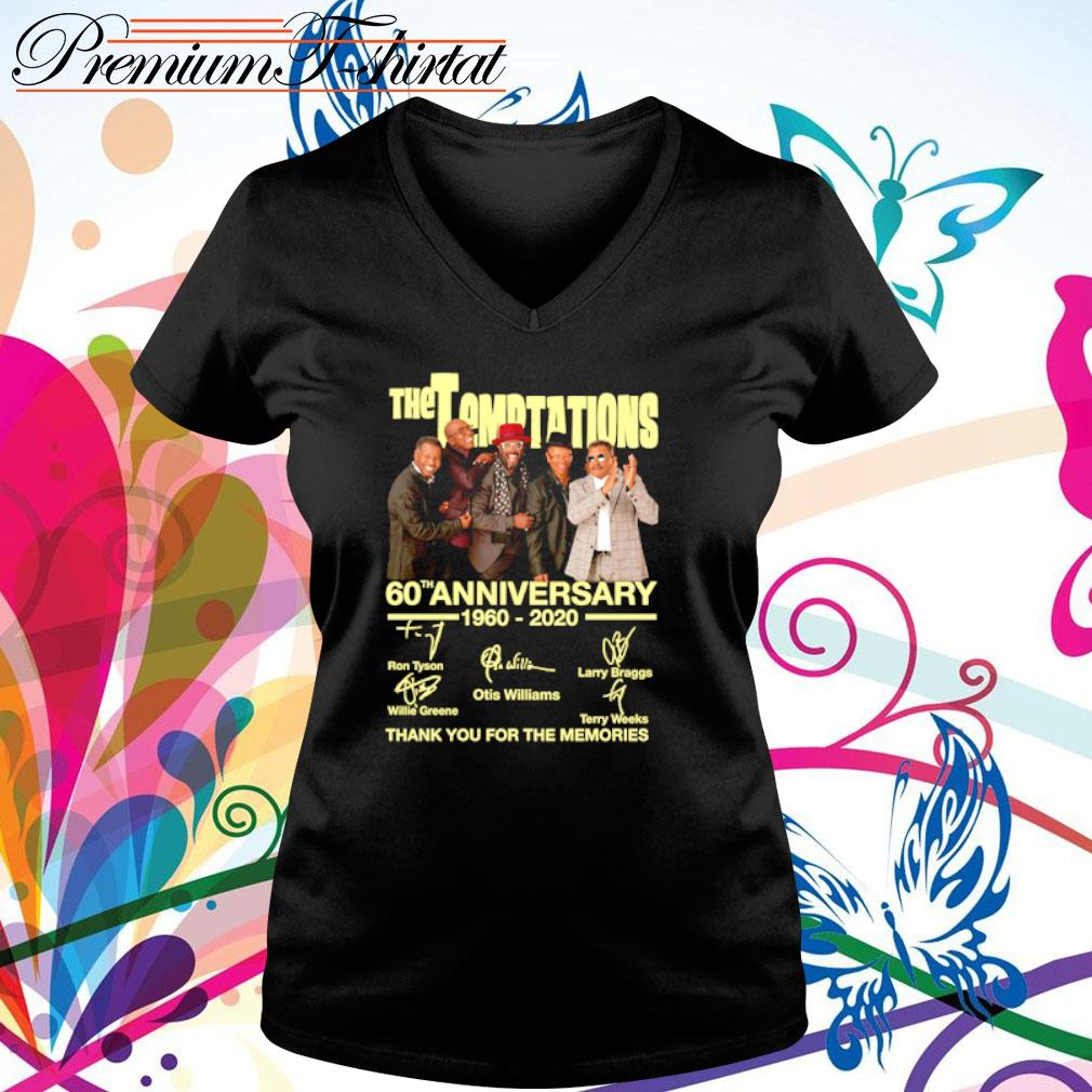 The Temptations 60th anniversary 1960-2020 thank you for the memories s v-neck t-shirt
