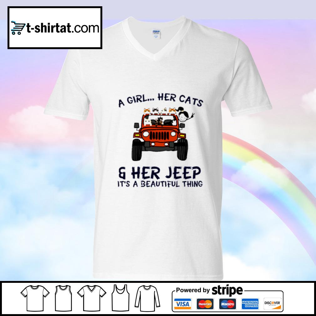 A Girl Her Cats Her Jeep It's A Beautiful Things s v-neck-t-shirt