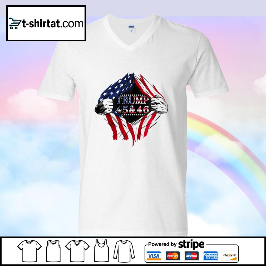 Blood inside trump 45 46 2nd term 2021 2022 2023 american flag s v-neck-t-shirt
