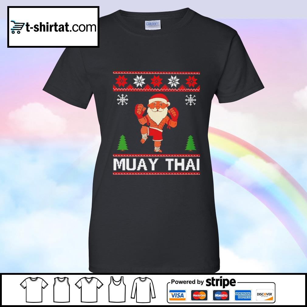 Muay Thai Karate Santa Claus Christmas s ladies tee