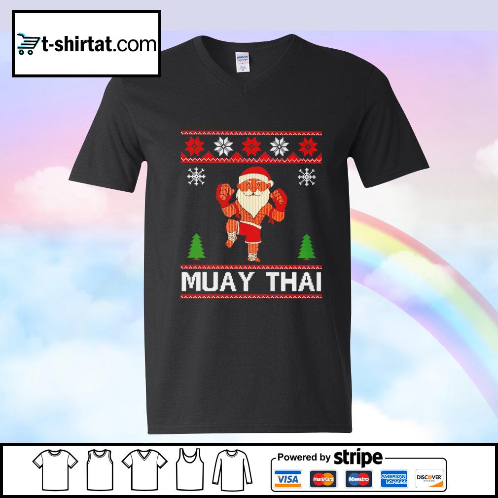 Muay Thai Karate Santa Claus Christmas s v-neck-t-shirt