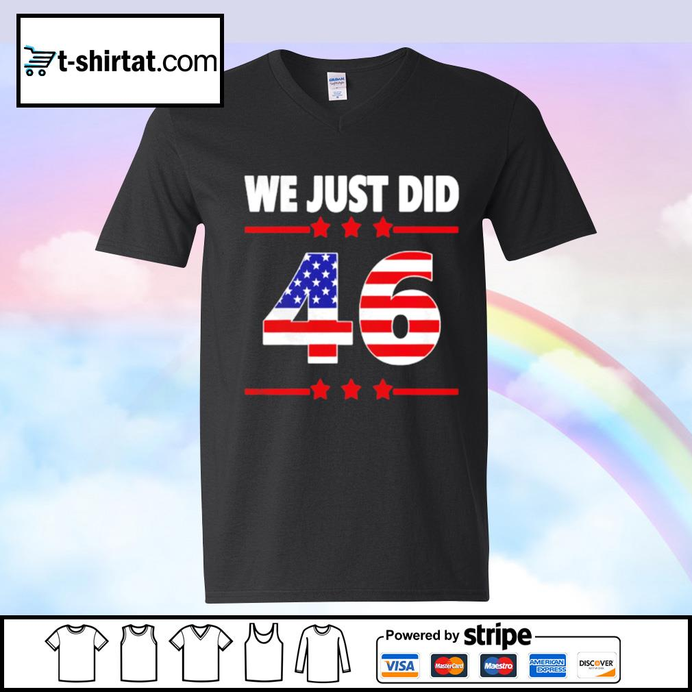 We just did 46 we just did distress american flag s v-neck-t-shirt